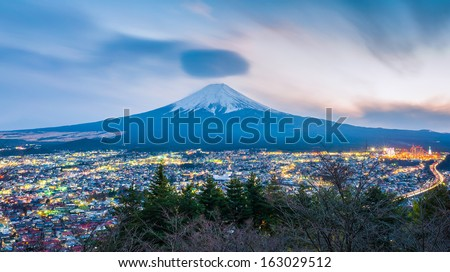 Mt Fuji at twilight - stock photo