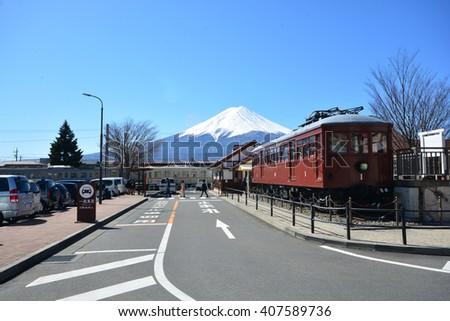 Mt Fuji FUJIKAWAGUCHIKO, JAPAN - March 16, 2016 :A railway station at Kawaguchiko, Fuji mountain The station is famous for scenery of Mt. Fuji. - stock photo