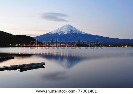 Mt Fuji in the early morning with the reflection on the lake, Japan - stock photo