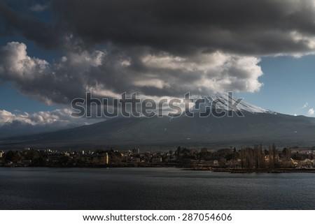 Mt.Fuji seen from Kawaguchiko lake, - stock photo