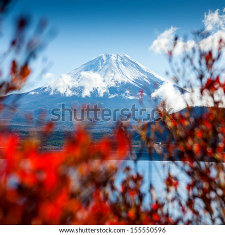Mt Fuji view from the lake  - stock photo