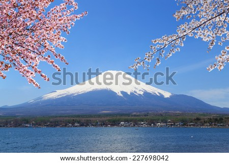 Mt.Fuji with Cherry Blossom at Lake Yamanaka, Yamanashi, Japan - stock photo