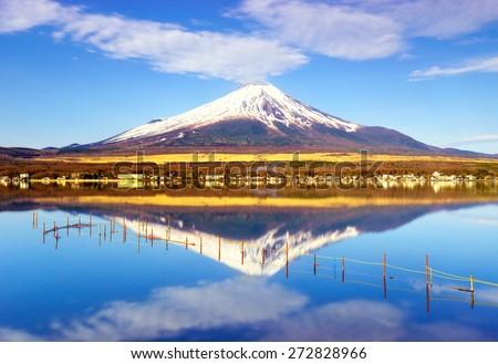 Mt.Fuji with Lake Yamanaka, Yamanashi, Japan - stock photo