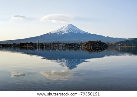 Mt Fuji with reflection on the lake - stock photo