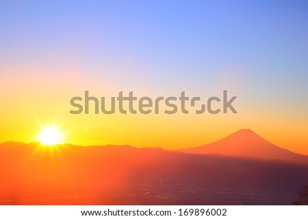 Mt. Fuji with sunrise from Mt. Amari, Yamanashi, Japan  - stock photo