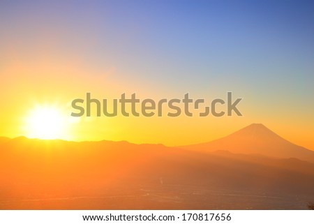 Mt. Fuji with sunrise from Mt. Amari, Yamanashi, Japan - stock photo