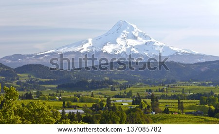 Mt. Hood and Hood River valley panorama in Spring Oregon. - stock photo