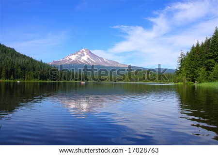 Mt. Hood at Trillium Lake in the summer - stock photo