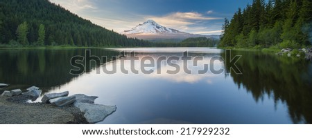 Mt.Hood, at Trillium Lake, Oregon, USA. Mountain with snow cap and lake view in the foreground - stock photo