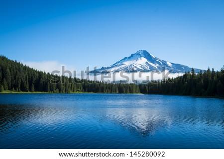 Mt. Hood seen from Trillium Lake, Oregon - stock photo