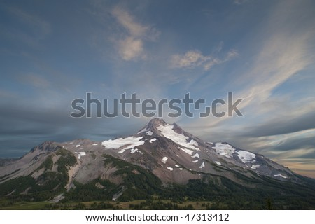 Mt. Jefferson, Oregon Cascades, dramatic clouds - stock photo