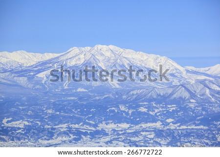 Mt. Myoko in winter, Nagano, Japan - stock photo