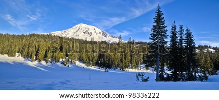 Mt. Rainier National Park near Reflection Lakes in winter time. - stock photo