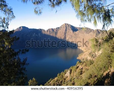 Mt. Rinjani Volcano Crater lake, Lombok, Indonesia - stock photo