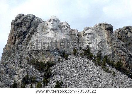 Mt. Rushmore in South Dakota with Overcast Sky - stock photo