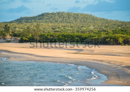 Mt.Saunders and East Woody beach the famous iconic place of Nhulunbuy town of Gove Peninsula, Northern Territory, Australia.