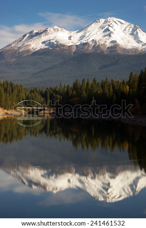 Mt Shasta Reflection Mountain Lake Modest Bridge California Recreation Landscape - stock photo