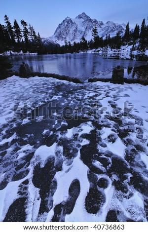 Mt. Shuksan and Picture Lake - stock photo