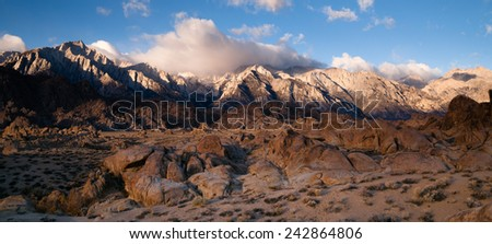 Mt Whitney Covered Cumulus Cloud Sierra Nevada Range California - stock photo