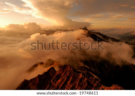 Mt. Yari of the sunset - stock photo