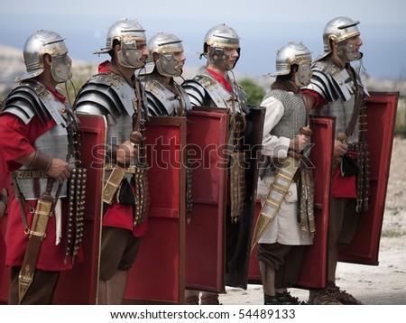 MTARFA, MALTA - MAY 23 - Roman legion Leg X Fret on May 23, 2010 in Mtarfa Malta - stock photo