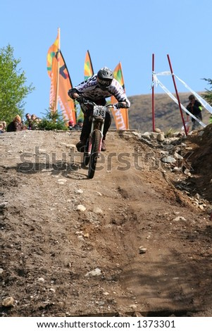 MTB World Cup 2006 at Fort William Scotland - Downhill Final 158 Nicolas Moiny - stock photo