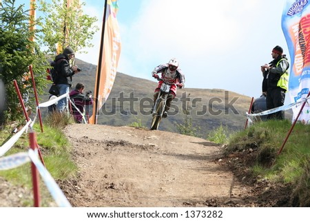 MTB World Cup 2006 at Fort William Scotland - Womens Downhill Final Rider 23 - Diana Margrafff - stock photo