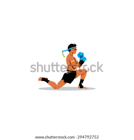 Muay Thai boxing sign. Thailand fighter man during the ritual on knees. Asia Martial Arts concept. Branding Identity Corporate logo design template Isolated on a white background - stock photo