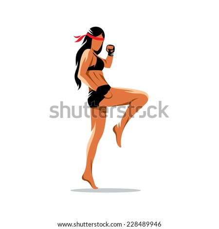 Muay Thai boxing sign. Thailand fighter woman kick knee. Asia Martial Arts concept. Kickboxing sport. Branding Identity Corporate logo design template Isolated on a white background - stock photo
