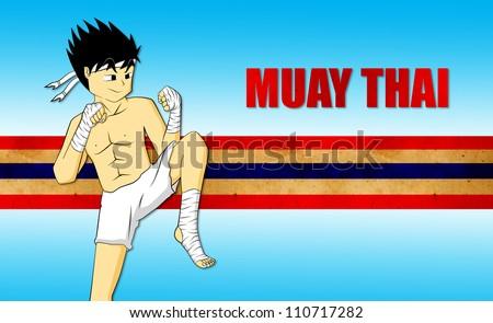 muay thai,character cartoon. - stock photo