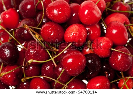 much juicy and sweet sweet cherries - stock photo