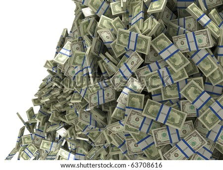 Much money and wealth. US dollar bundles falling down. Isolated over white - stock photo