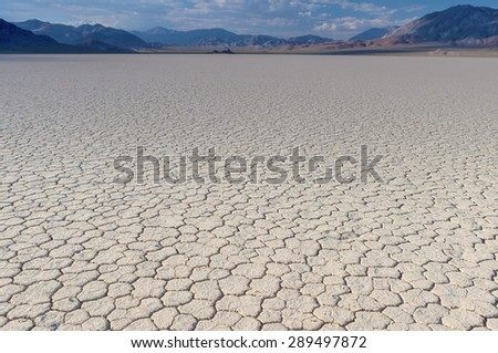 Mud and Clay of Dried and Unique Racetrack Playa in Deat Valley In California. Horizontal Image Composition - stock photo