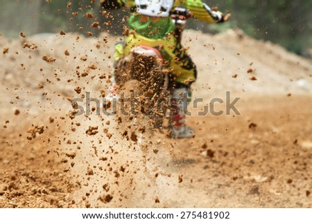 Mud debris from a motocross race - stock photo