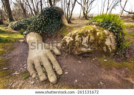 Mud Maiden at the Lost Gardens of Heligan, Cornwall, England. - stock photo