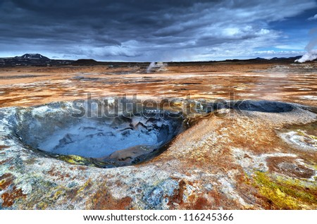 Mud Pots at Hverir, Iceland - stock photo