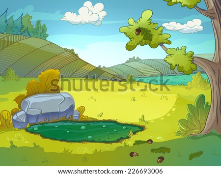 Mud puddle drawn in cartoon style