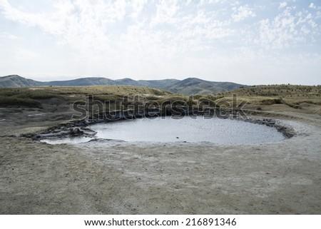 Mud volcano in Romania Buzau - stock photo