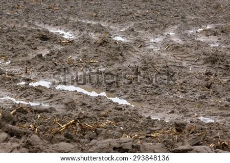 Muddy field - stock photo