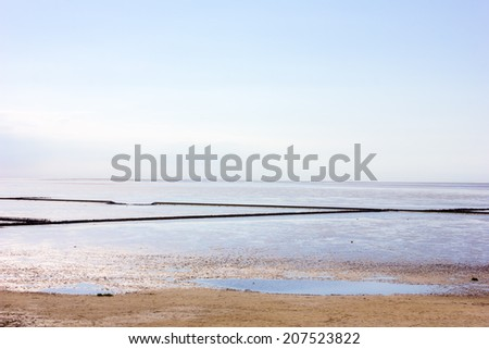 Mudflat in Northern Germany, protected as National Park - stock photo