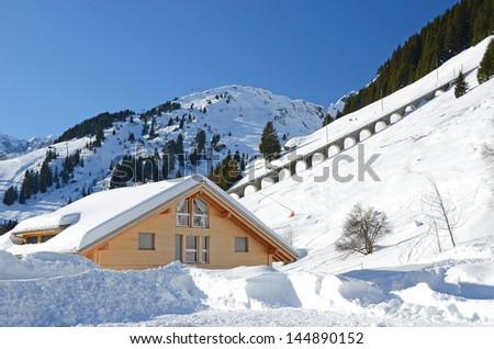 Muerren, famous Swiss skiing resort - stock photo