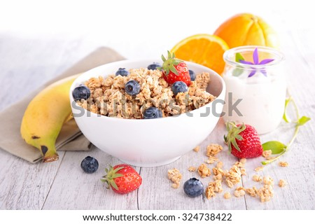 muesli and berry, healthy breakfast - stock photo