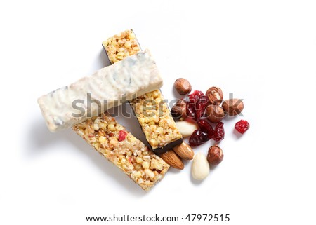 muesli bars and nuts and dried fruits - stock photo
