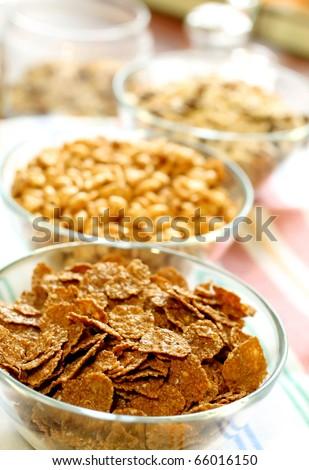 muesli in glass bowl - stock photo