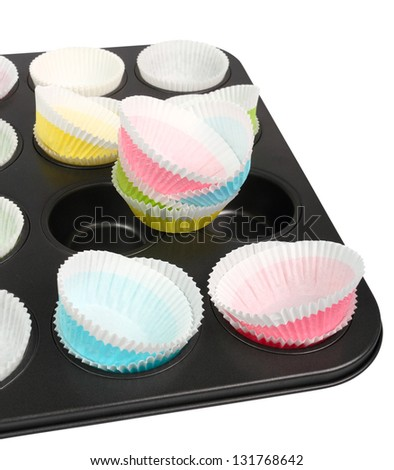 Muffin Tray and Cupcake Liner - stock photo