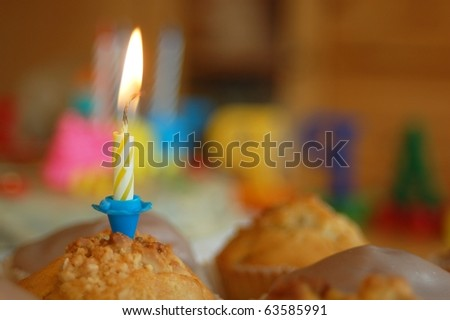 Muffin with Candle - stock photo