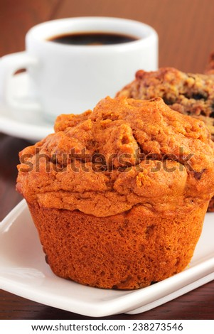 Muffins and coffee - stock photo