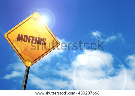 muffins, 3D rendering, glowing yellow traffic sign