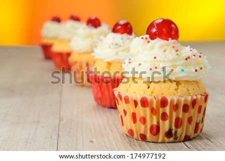 Muffins decorated - stock photo