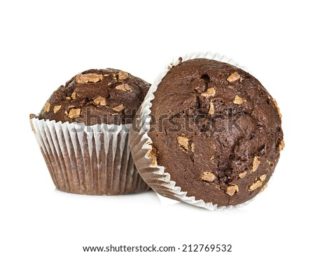 muffins isolated on white background - stock photo
